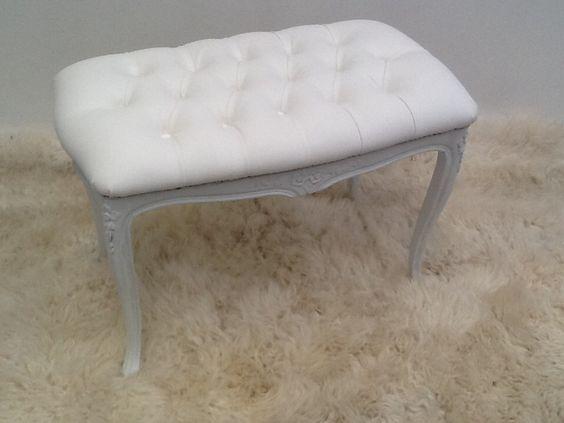 Banqueta luis xv capitone blanco muebles estilo frances - Muebles luis 15 ...