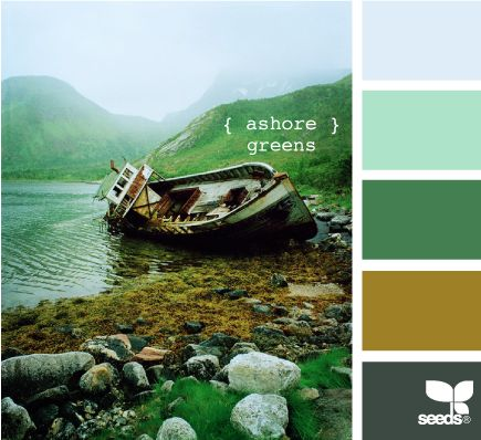 ashore greens - fun color combo; the blue and yellow-toned greens are unexpected together, but they work really well pulled together by the gray-green.
