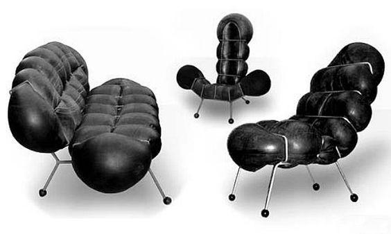 Tire Tube Chairs \ Setee by Nir Ohayon Handmade metal frames with