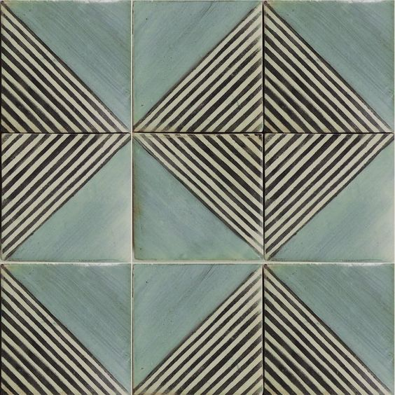Classic-meets- contemporary blue tile with graphic pattern. Grafico 2 royal blue & charcoal on off white.