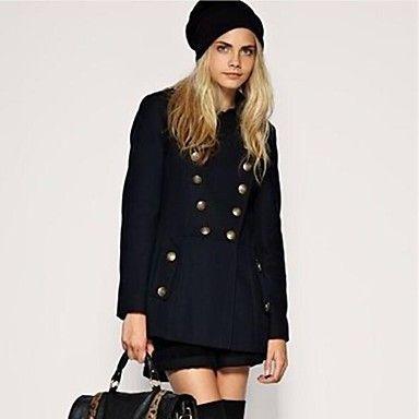 女性のファッションラペルカラーキャップダブルブレストシックFomalオーバー - JPY ¥ 4,036
