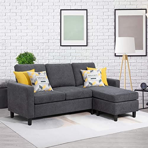 The Walsunny Convertible Sectional Sofa Couch Reversible Chaise L Shaped Couch Modern Linen Fabric Small Space Dark Grey Update Version Online Shopping In 2020 Sectional Sofa Couch L Shaped Couch Grey Sectional Sofa