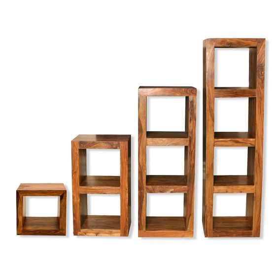 Cube shelving units solid sheesham wood shelving units for Living room storage units