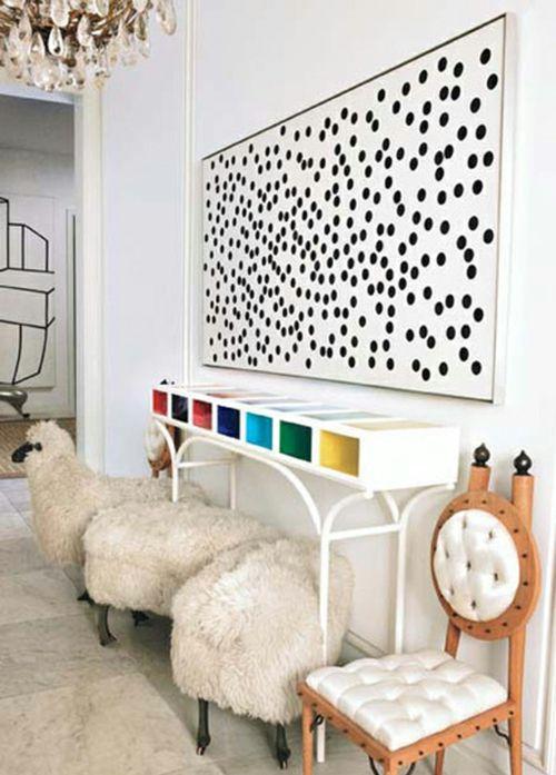 Wanddekoration Mit Bunten Punkten Getupftes Design Wieder In Mode Dekoration Diy Stilvoll Wohnen Haus Deko Produktdesign