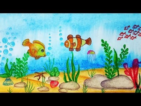 How To Draw Underwater Scenery Step By Step Easy Draw Youtube Scenery Drawing For Kids Underwater Drawing Easy Scenery Drawing