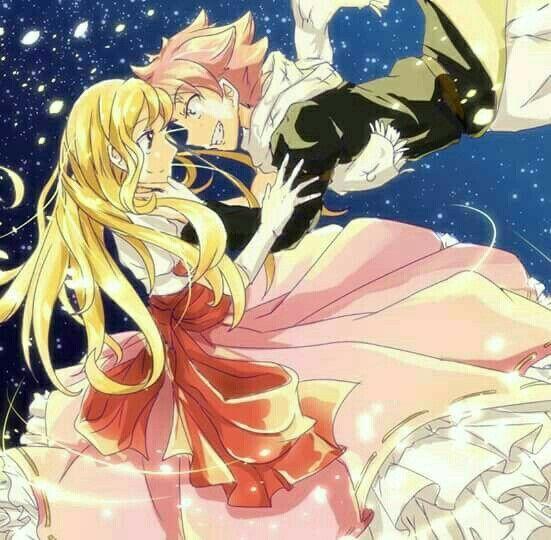 Natsu, Lucy, dress, starry sky, couple; Fairy Tail