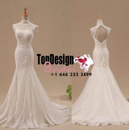 Wholesale Vestido De Novia Mermaid Wedding Dress Lace High-Neck Key Hole Bridal Gown
