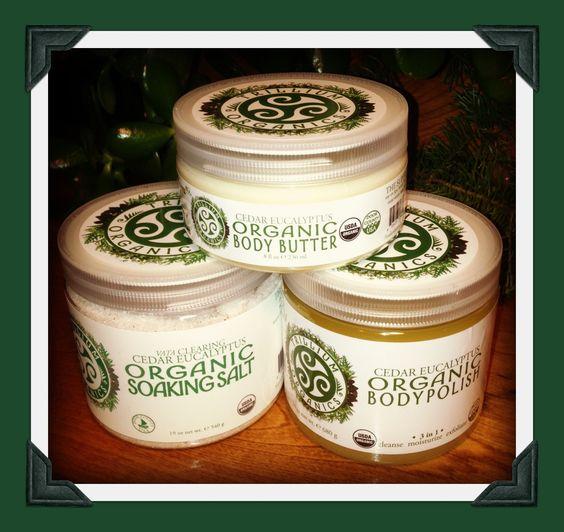Say Aaahhhh!  Trillium Organics Clearing Cedar Eucalyptus Organic Aromatherapy, Organic Body Polish Butter and Soaking Salt.
