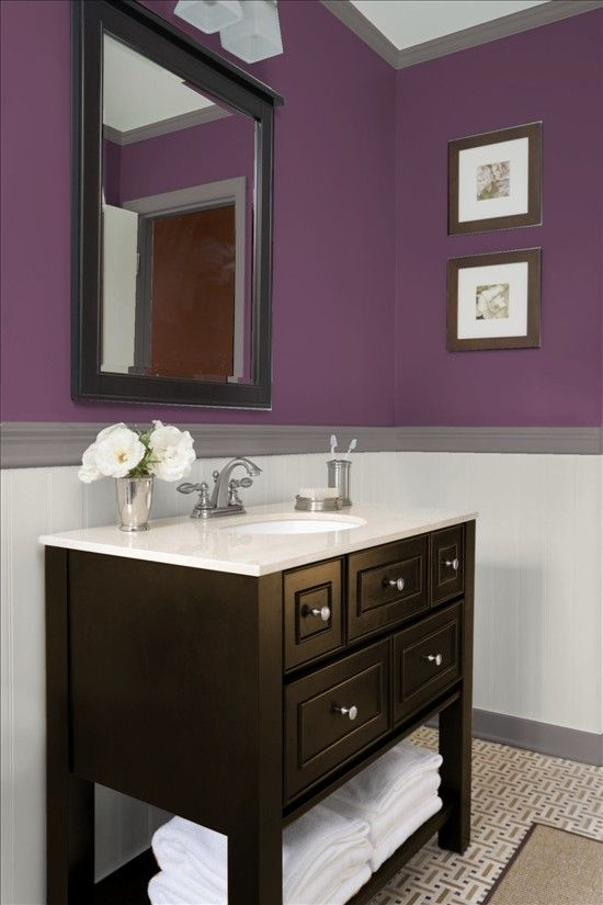 Cottages wall colors and drawers on pinterest for Aubergine bathroom ideas