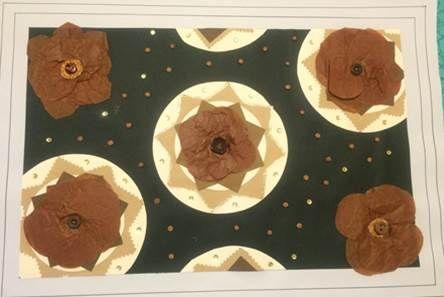 textura de tela fabric pattern patron del tela colores neutros flores a mano negro marron