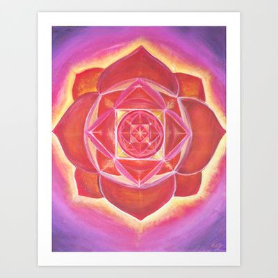 Acrylic on canvas, by Olivia Josephine. This is a root chakra balancing fractal pattern. Could also be interpreted as a cymatic pattern of the resonant tone at the base chakra. In short, a basic red Mandala.