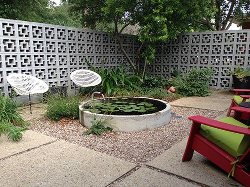 I love this patio the retro concrete block wall the for Cinder block pond