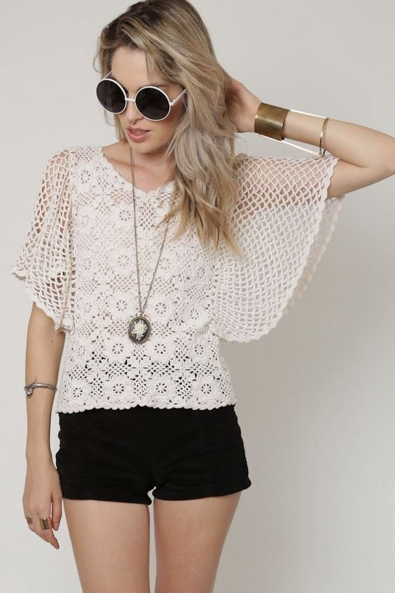 For inspiration, easy sleeve. Crochetemoda: Crochet