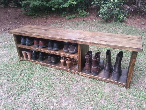 Foyer Boot Storage : Rustic entryway bench boot with shoe rack and