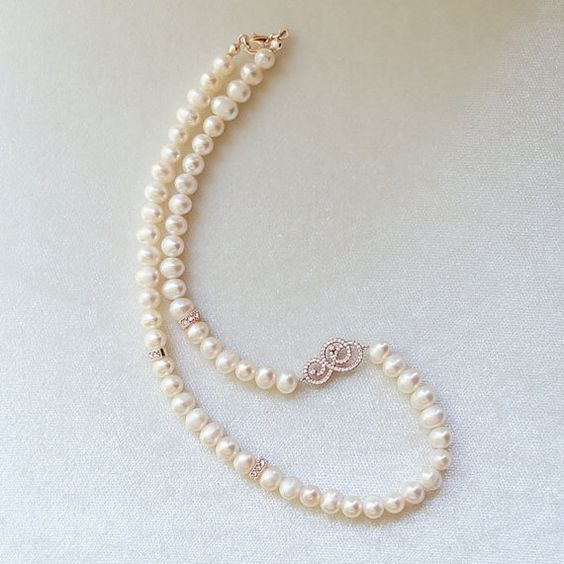 Hey, I found this really awesome Etsy listing at https://www.etsy.com/listing/169899501/pearl-necklace-with-rose-silver-zirconia