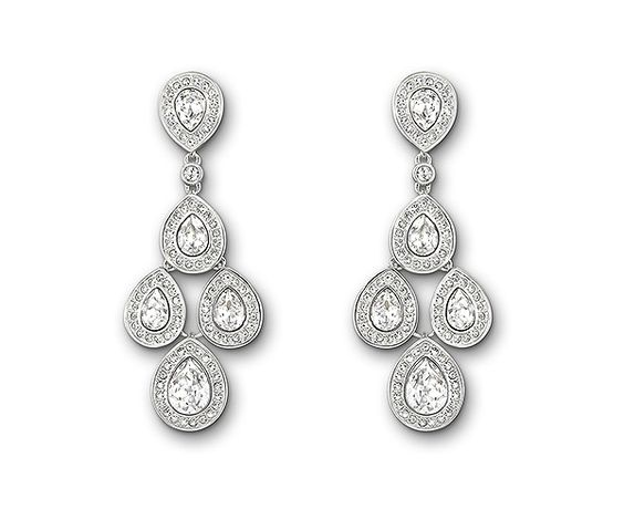#Swarovski Sensation Pierced Earrings featuring pear-shaped clear crystals which dangle freely, creating a chandelier effect. Perfect if you'll have your hair in an updo at your #wedding