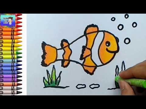 Menggambar Dan Mewarnai Ikan Nemo Mewarnai Dengan Crayon