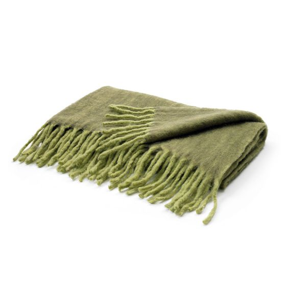 GO Home Two Tone Green Mohair Throw