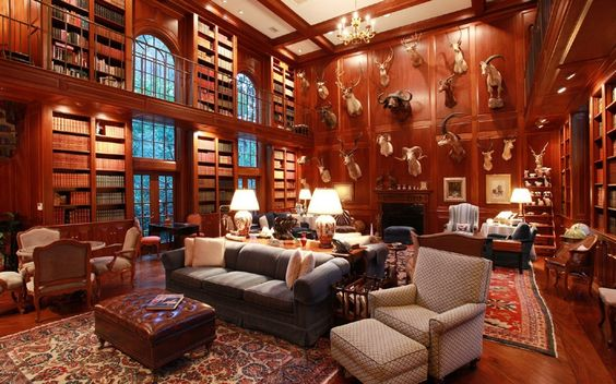 Luxury Homes With Libraries For Sale Fireplaces The