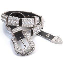 This magnificent black leather Christine Alexander belt is plated with silver bars studded with clear Swarovski Austrian crystals. The silver buckle, keeper and tip have crystal accents.  Christine Alexander guarantees the crystals and craftsmanship for the lifetime of the belt. www.westernglitter.com
