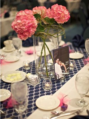 Patterned Table Runner: Instead of splurging on expensive linens, dress up your tables with patterned runners for a subtle boost of style.: Wedding Ideas, Blue Pink, Idea Wonder, Simple Centerpieces, Blue Tables, Simple Flowers, Navy Blue, Blue Geometric