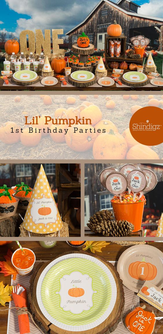 Use our Lil Pumpkin Party Supplies to celebrate their first birthday with Autumn style. This darling first birthday theme combines the colors of green and orange with pumpkins, chevron print, stripes and polka dots.