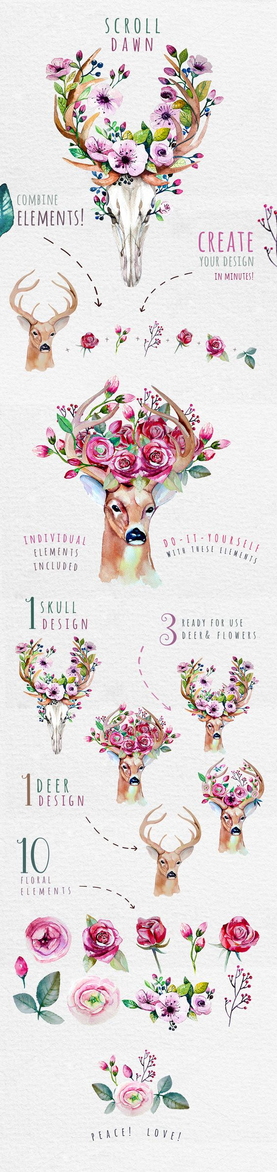 Deer, skull & floral by Peace ART on @creativemarket http://www.skullclothing.net
