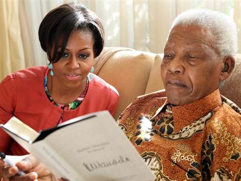 Frist Lady Michelle Obama and the Honorable, Mighty Dr. Nelson Mandela