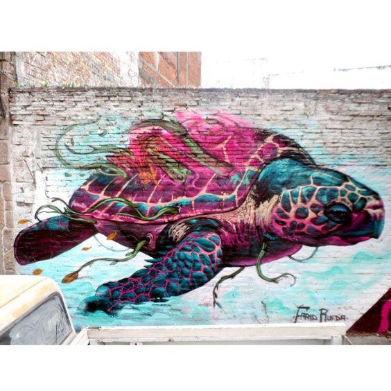 """""""Turtle"""" #streetart par Farid Rueda"""
