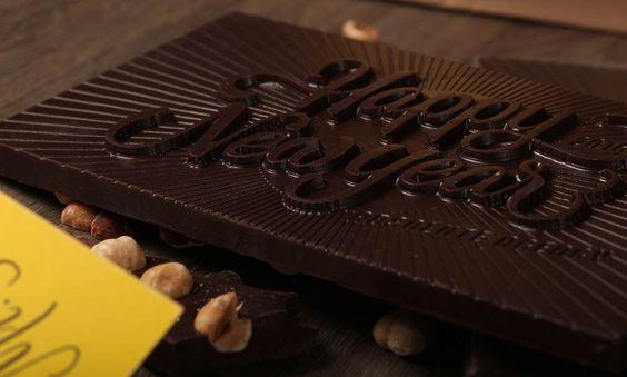 caligrafía en chocolate