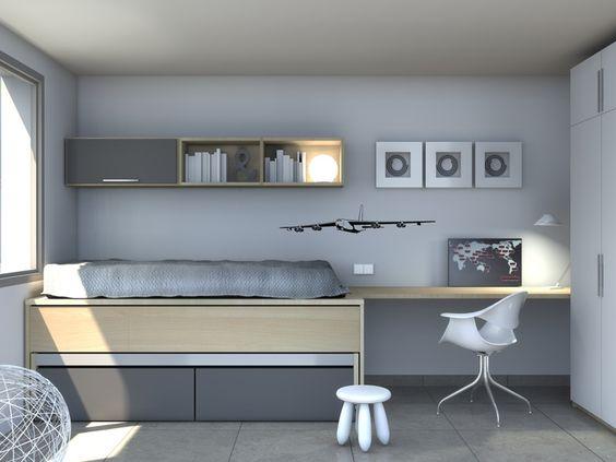 Camas nido espacio escritorio estanterias decoraci n for Cama nido con escritorio