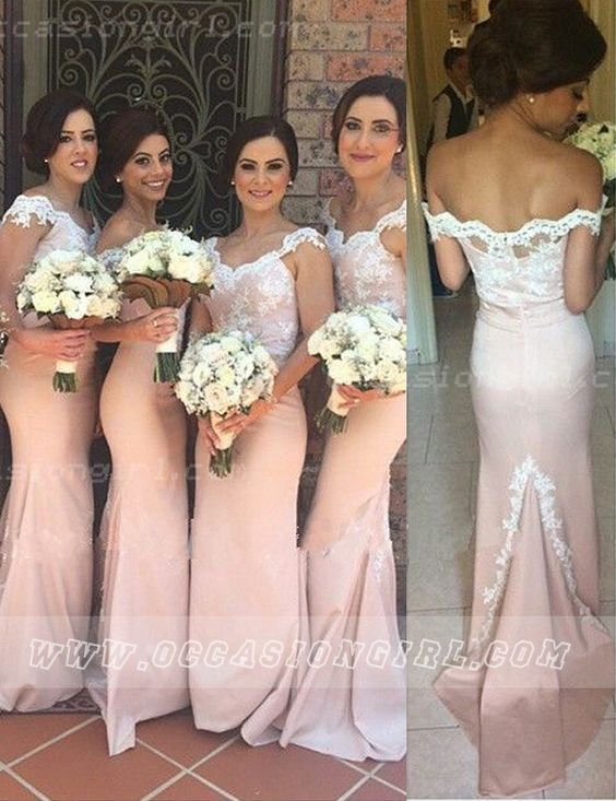 Elegant Straps Lace Appliques Long Mermaid Peach Bridesmaid Dress: