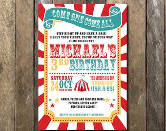Circus Birthday Party, Circus Tent Invitation, Classic Circus Party, Vintage…