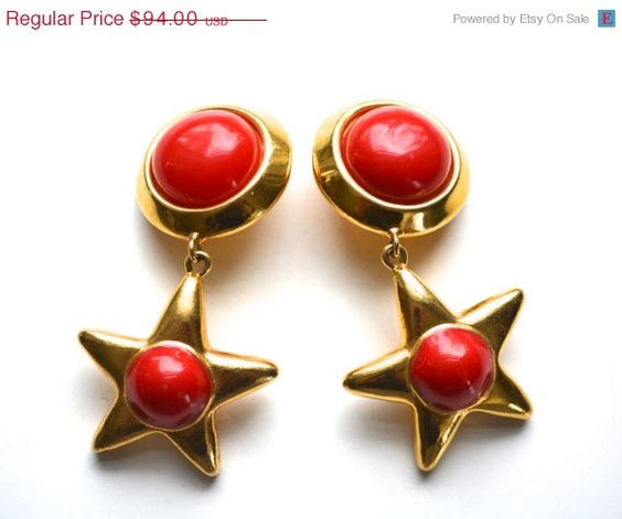 REDUCED Escada Earrings/1980s Star/ Golden Red by SararaVintage, $75.20
