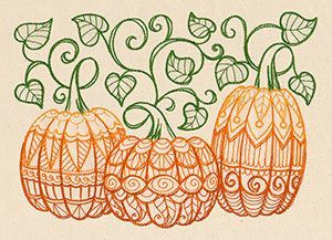 Patterned pumpkins urban threads unique and awesome for Awesome pumpkin drawings