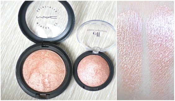 E.l.f. Baked Highlighter in Blush Gems dupe to Mac Mineralize Skin Finish in Soft and Gentle