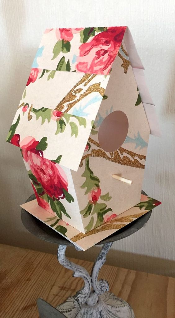 Here is the fourth Wallpaper Birdhouse:   I have designed this project to print on two A4 pages, for a large Birdhouse. If you would like to make a smaller Birdhouse, simply print both pages onto ONE