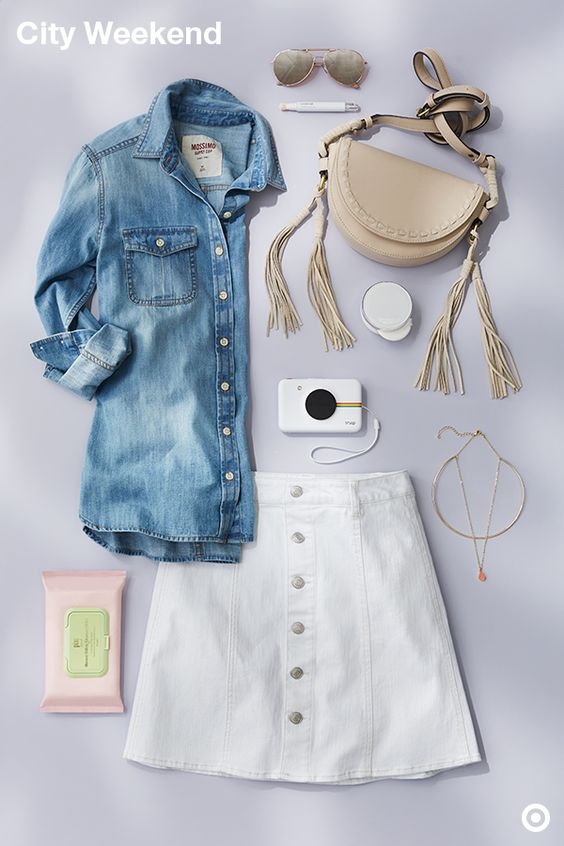 This is the definition of a city-ready summer outfit. Be prepped for strolling (or brunching) in this cute A-line skirt and goes-with-everything shirt—just roll-up the sleeves as the weather heats up. Tip: When wearing denim-on-denim, make sure the base tones are similar, like the light bases in this top and skirt, and they'll go together perfectly. Add beauty picks like Pixi wipes and the Laniege BB cushion and cover-up to your bag to keep you looking fresh.
