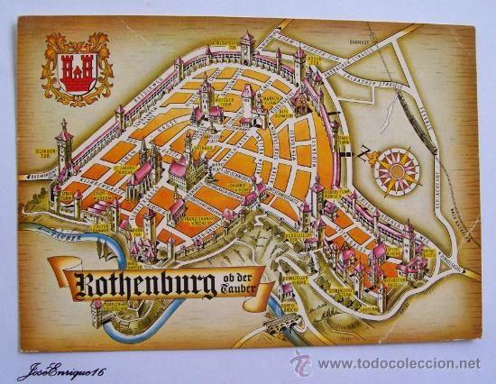 ROTHENBURG OB DER TAUBER MAP Postales Postales Extranjero – Map Rothenburg Germany
