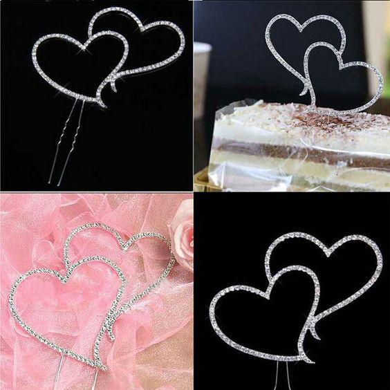 Crystal Rhinestone Double Heart Cake Topper Wedding Decoration - Wedding Look