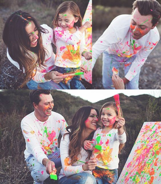 family paint session. you get fantastically fun photos and a piece of art! Cute idea!