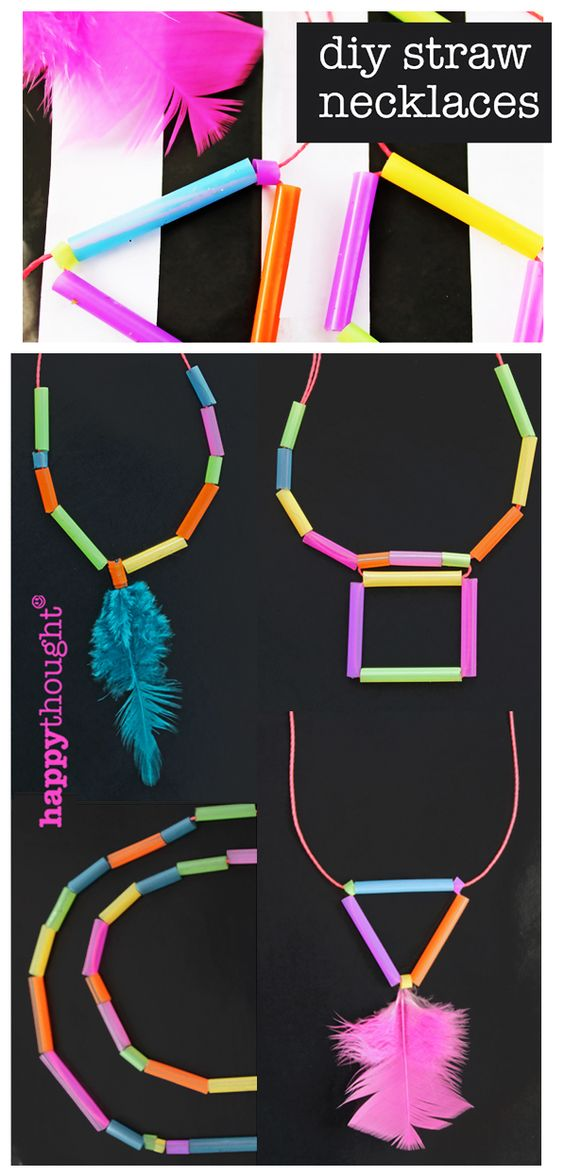 Make me! DIY geometric necklace made from neon-bright drinking straws! Step-by-step craft tutorial - fun rainy day, homeschool or classroom activity: