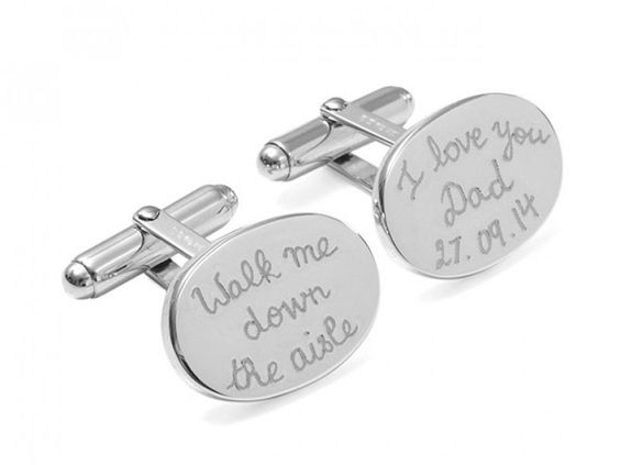 FATHER OF THE BRIDE Personalised Sterling Silver Oval Cufflinks
