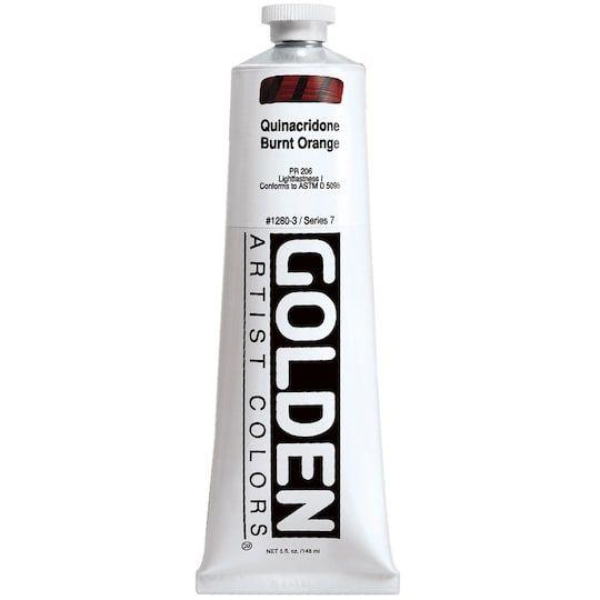 Golden Heavy Body Acrylic Paint 5 Oz In 1280 Quinacridone Burnt