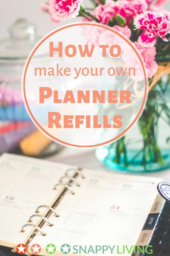 how to make your own planner refills pinterest calendar planner diy and printers. Black Bedroom Furniture Sets. Home Design Ideas