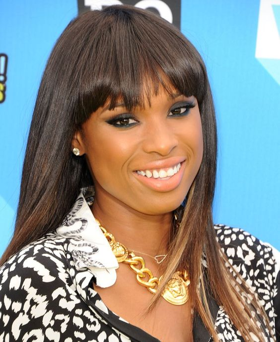 Pin for Later: Fringespiration! 50 Celebrity Fringe Hairstyles to Inspire Your New Cut Jennifer Hudson Jennifer's fringe starts quite far back and incorporates more hair than you think, which opens up the face and keeps the hair off the face.