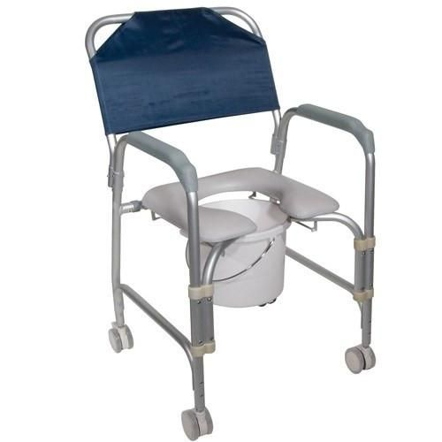 Padded Shower Chair With Commode And Rolling Casters Portable Shower Chair Shower Chair Shower Commode Chair
