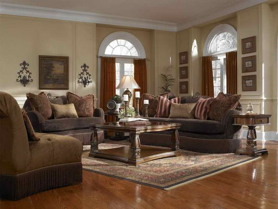 Tuscan Living Room Furniture With Wood Flooring Flooring