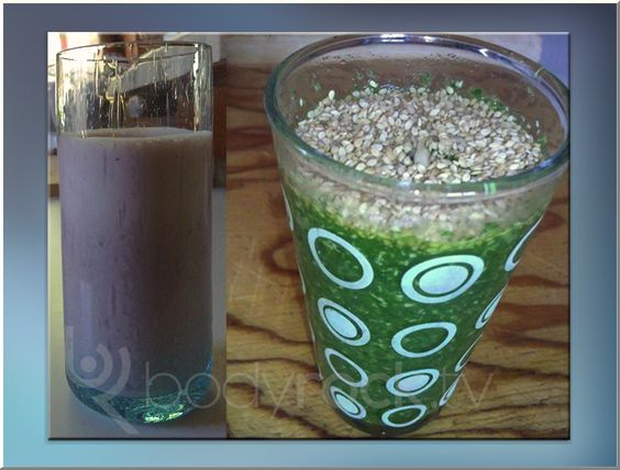 Green smoothie with kale, cucumber and protein powder, topped with sesame seeds