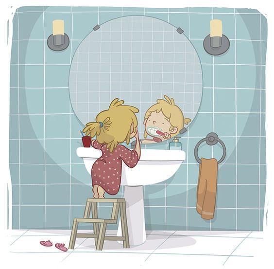 EDUCATIONAL BOOKS - Ester Garay, ilustradora#illustration #ilustracion #educational #book #infantil #childrenbook #children #home #bathroom #girl #read #libro #texto #beautiful #color #tender #teeth #dientes #limpieza #brush #lavabo #mirror #espejo